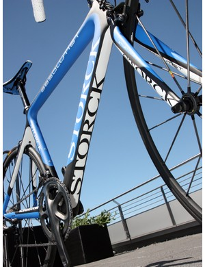 The uncharacteristically colorful paint job on the new Storck Absolutist highlights the down tube's squared-off bottom