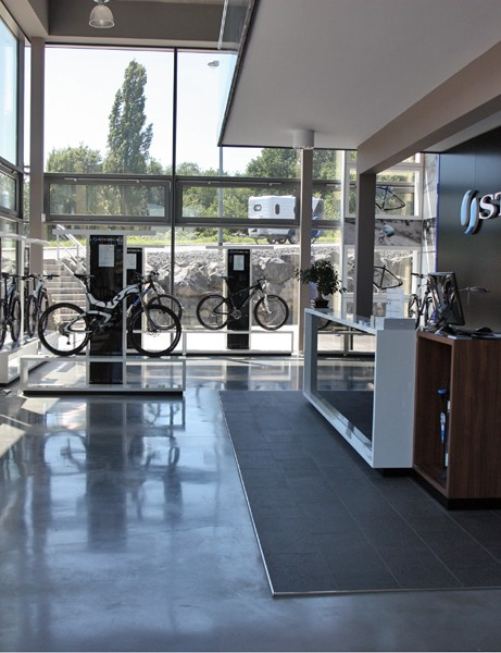 Storck's main showroom is split into mountain and road bike sides. All of the models are on display and nearly everything is available for a test ride