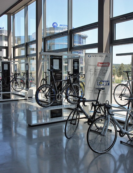 The road side of Storck's main showroom includes all of the company's aluminum and carbon fiber models