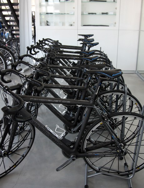 Storck's showroom in Idstein, Germany includes a collection of Fenomalist demo bikes, all equipped with Shimano Dura-Ace Di2 groups