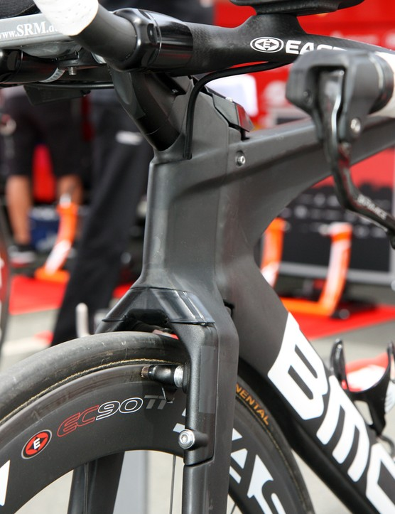 The front brake is hidden inside the fork on the new BMC Timemachine TM01
