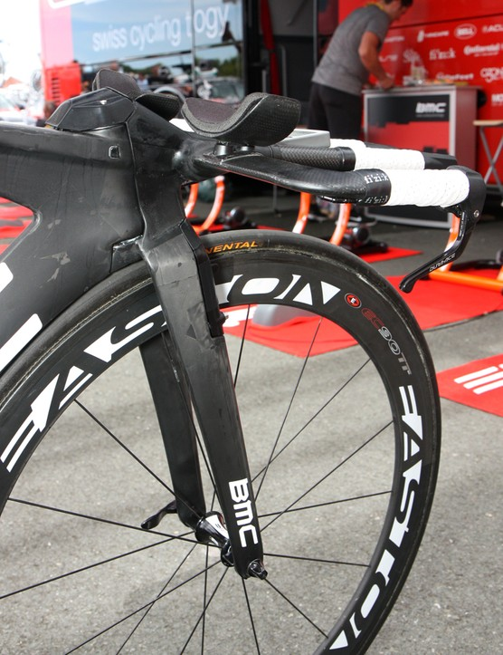 BMC team leader Cadel Evans has such an aggressive position on his time trial bike that BMC had to custom mold a fully one-piece carbon fiber fork/stem/aerobar just for him