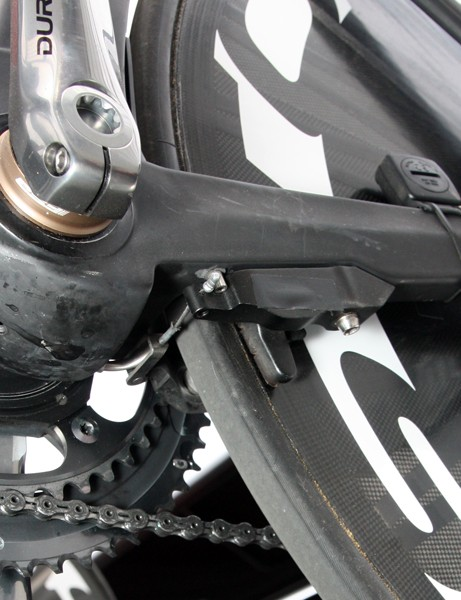 BMC tuck a set of mini V-brakes underneath the chainstays on their new Timemachine TM01