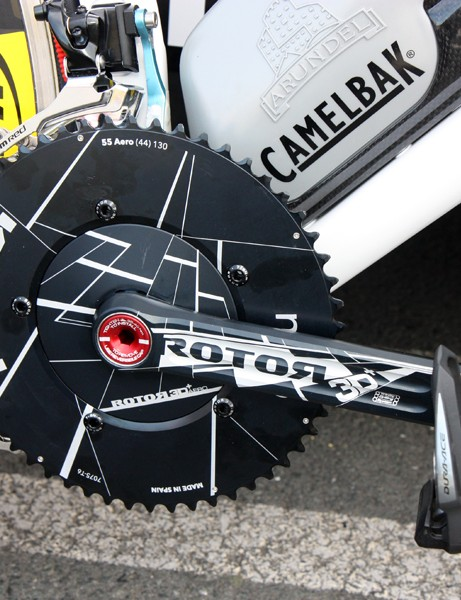 David Zabriskie (Garmin-Cervélo) went with a solid spider and outer chainring for Sunday's team time trial