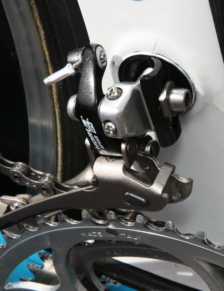 The very clever front derailleur tab on Lampre's new Wilier TwinFoil is adjustable for angle to better accommodate different chainring sizes and shapes - the fixing bolt is on the other side of the seat tube