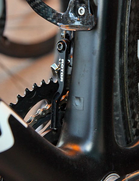 Astana are sponsored by SRAM so the extra ports for Shimano's Dura-Ace Di2 system go unused