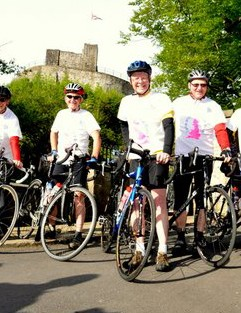 At the start of a 4,300 mile trek, Bill (centre) prepares to depart his home town of Clitheroe, Lancashire