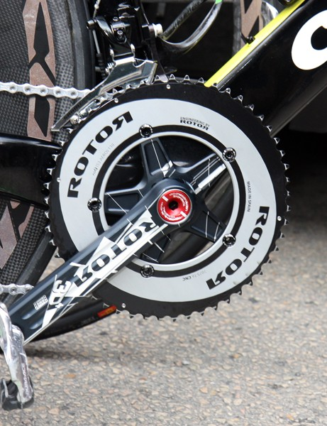 Round chainrings are fitted to Thor Hushovd's (Garmin-Cervélo) Rotor 3D+ cranks