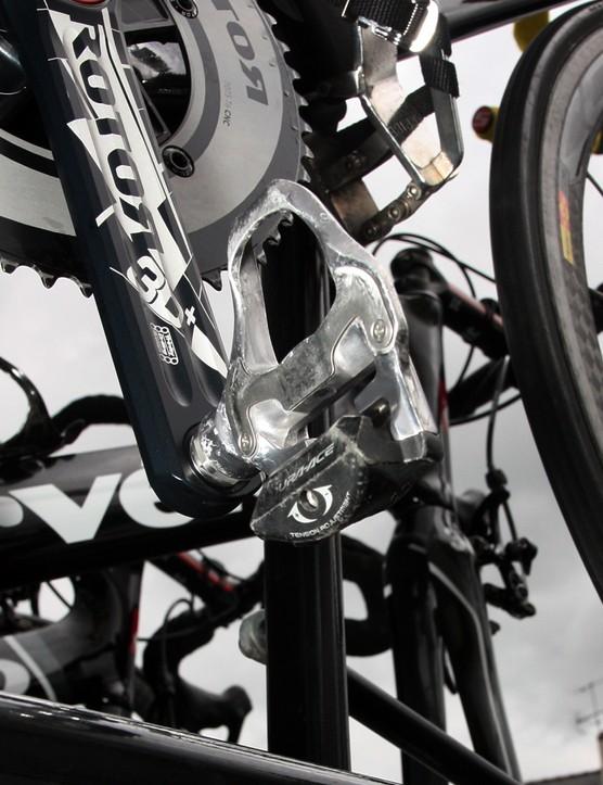 Thor Hushovd (Garmin-Cervélo) uses Shimano's aluminum-bodied Dura-Ace pedals