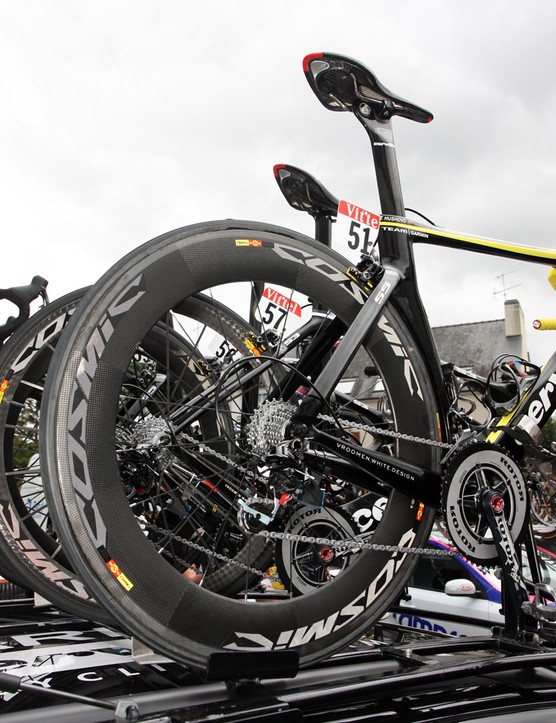 Thor Hushovd (Garmin-Cervélo) ran an 80mm-deep Mavic carbon tubular rear wheel during Stage 5
