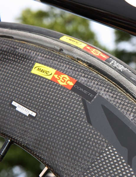 Some Garmin-Cervélo riders have also been spotted with this 80mm-deep Mavic wheel. While it's slathered in giant 'Cosmic' decals, the smaller model name decal says 'Comete'