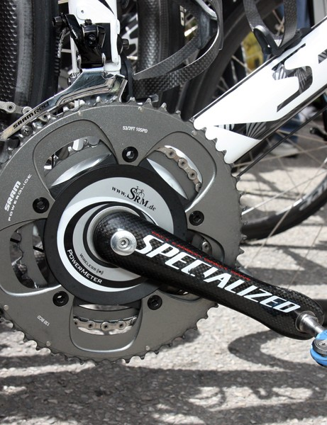 SRAM Red chainrings are bolted on to the Specialized FACT carbon crank on Alberto Contador's (Saxo Bank-Sungard) Specialized S-Works Tarmac SL3
