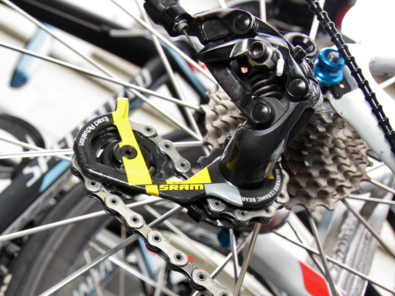 Likewise, Saxo Bank-Sungard head mechanic Faustino Munoz has tweaked the rear derailleur pulleys on Alberto Contador's machine such that they spin noticeably faster and smoother than stock