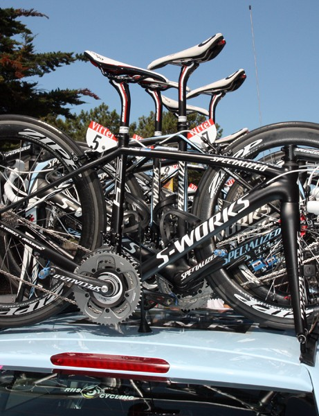 Saxo Bank-Sungard are mostly on Specialized's Venge and Tarmac SL3 machines, though two riders are on the newer McLaren development bike (basically a test mule for an upcoming ultra-premium version of the new SL4)