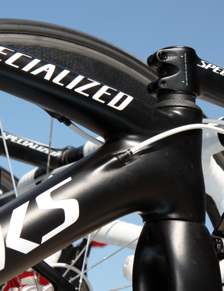 Specialized has provided Saxo Bank-Sungard and HTC-Highroad with two different versions of its 'Project Black' S-Works McLaren test bike - one with ports for mechanical routing and another for Di2 only