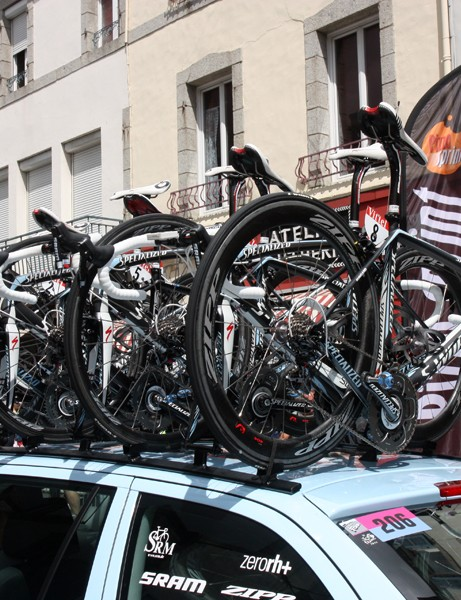 Saxo Bank-Sungard's team bikes ride to the start area atop the team car. One notable omission, though, is Alberto Contador's machine, which rides more securely in a lower hold on the team bus