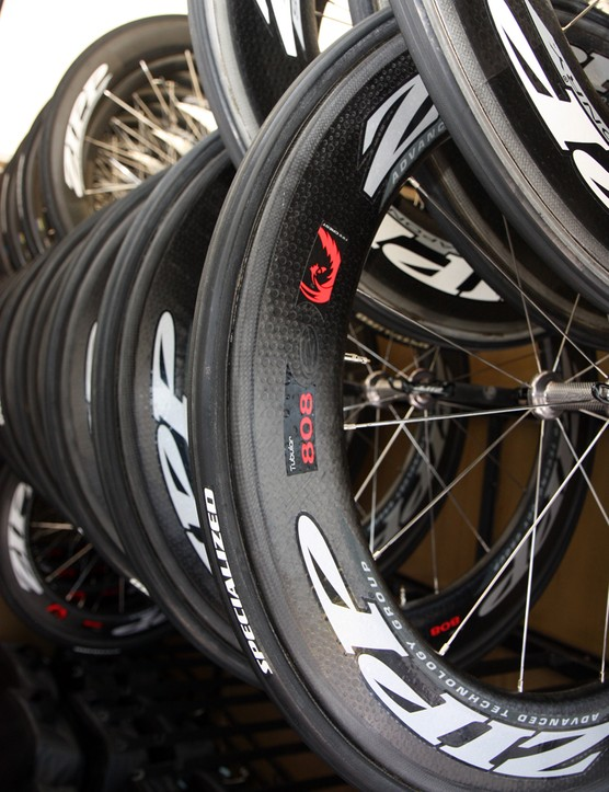 Zipp PR man Andy Paskins says the new 808 Firecrest will be Saxo Bank's go-to wheel on flatter stages when there isn't too much wind