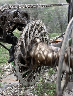 It's been wet and the drivetrains take a beating from the wet gritty puddles. Bikes are being cleaned twice daily and there's more lube being used than... well, insert dirty metaphor here