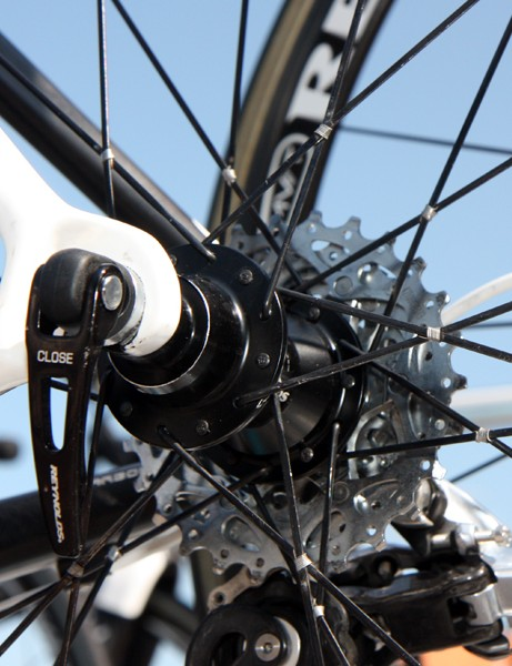 Older AG2R-La Mondiale Reynolds rear wheels are still built with a two-cross pattern but with ultralight bladed spokes