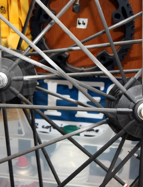Non-driveside hub flanges on Nicolas Roche's (AG2R-La Mondiale) rear Reynolds RZR 46 wheels are larger in diameter than the standard version for extra rigidity. Roche is the only person on the team to use these