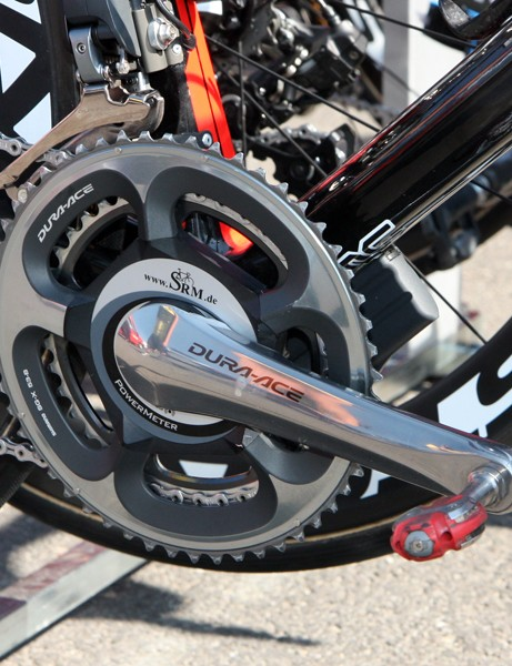 Once again, SRM power meters are commonplace amongst the peloton. This one belong to George Hincapie of team BMC