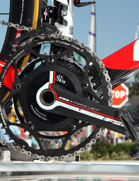 Cofidis's Look 695 bikes use oversized bottom bracket shells for use with the company's own full-carbon cranks - but even so, many riders can't seem to do without their SRM power meters, even while racing