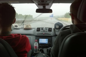 Ric, Rob and the Vito Sport plough through the rain...