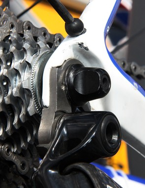 Quick Step are among the teams using custom stainless steel derailleur hangers for extra durability