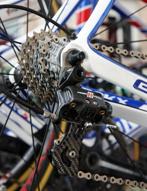 The Campagnolo Super Record rear derailleur on Quick Step's Eddy Merckx EMX-7 bikes are paired with steel-and-titanium cassettes for better durability