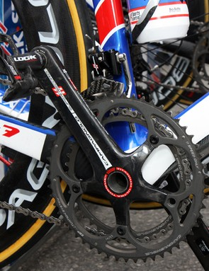 A custom chain watcher helps keep things running as intended on Tom Boonen's (Quick Step) Eddy Merckx EMX-7