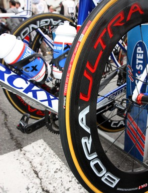 Tom Boonen (Quick Step) ran deep-section Campagnolo Bora Ultra carbon tubulars during Stage 5