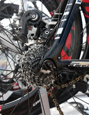 This is often what happens when a rear derailleur ends up in the spokes. Would a stiffer hanger have prevented this? Perhaps, if the incident was caused by one that had gotten bent in a crash or impact