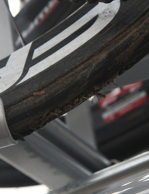 Romain Feillu's (Vacansoleil-DCM) rear tire is shredded, presumably after the wheel locked up at speed
