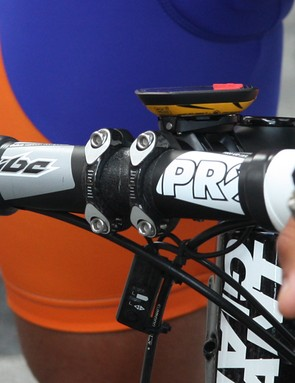 The new PRO 1-1/4in stem on Rabobank's Giant TCR Advanced SL bikes features a two-piece carbon fiber faceplate