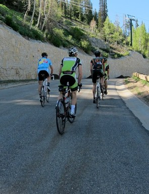 The front group feeling frisky on the first climb