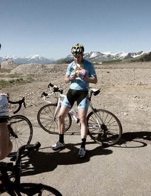 The ride leader, Chris Smith of Lazer Helmets