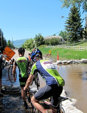 Water closed roads on the route and we forded it