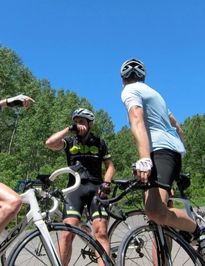 Smith, Michael Pederson (also from Lazer) and Lewis discuss the route