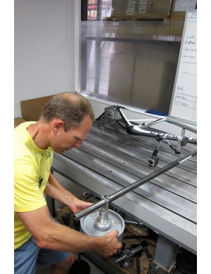 Schroder performs a full frame torsion stiffness test on a Venge aero road frame
