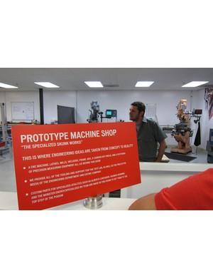 Jon Sieber in Specialized's prototype machine shop