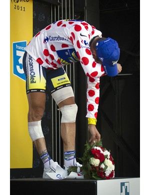 Hoogerland ended the day in the polka dot mountains jersey, but in a lot of pain