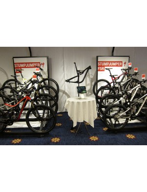Specialized's new Stumpjumper FSR family: 29ers on the left, 26ers on the right