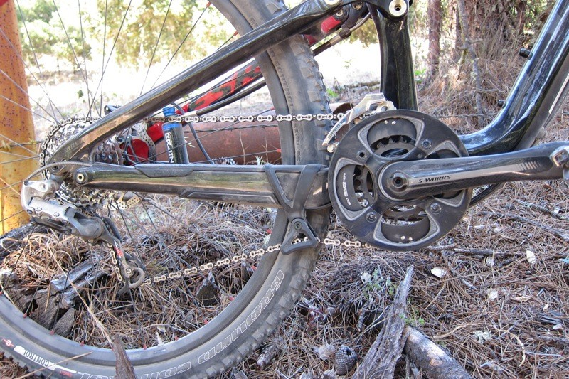 The S-Works bike's SRAM XX drivetrain complete with 30g Dangler retention device