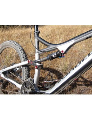 The Stumpjumper FSR Comp EVO uses a standard Fox RP2 shock. The extra travel and slacker geometry come from a modified swing link - the frame is actually the same as that used on the standard model