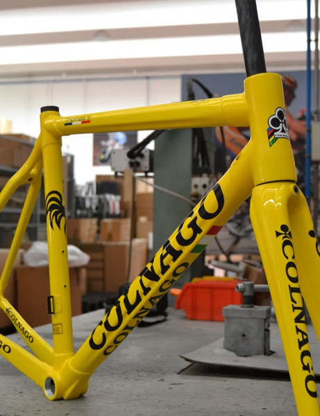 Thomas Voeckler's brand new Colnago C59 sits in the factory in Cambiago, Italy on Monday