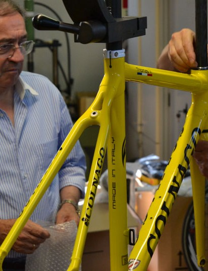Ernesto Colnago oversees the frame's finishing touches