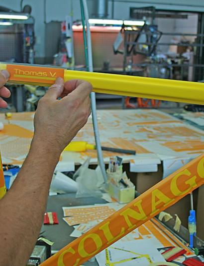 Decals go on Voeckler's new Colnago C59