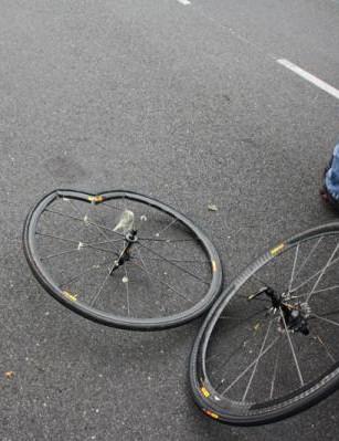 Zabriskie's wheels after his crash
