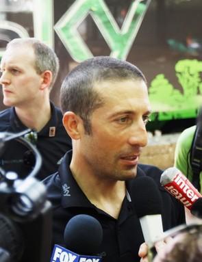 Juan Antonio Flecha speaks to the media on the rest day