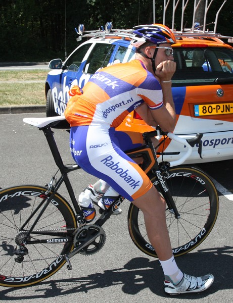 Rabobank have two distinct color schemes for their Tour de France bikes, including this more starkly finished bike with a simple clearcoat, some decals and just a hint of orange